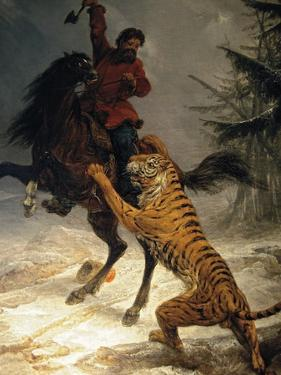Siberian Tiger Attacking a Cossack