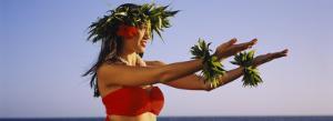 Side Profile of a Young Woman Hula Dancing, Hawaii, USA