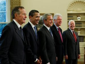 Side View of All Living Presidents and Newly Elected Barack Obama, January 7, 2009