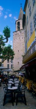 Sidewalk Cafe Near a Church, Bargemon, Var, Provence-Alpes-Cote D'Azur, France