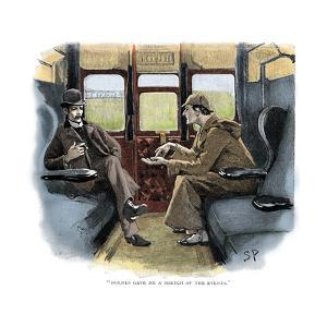The Adventure of Silver Blaze, Holmes and Watson on Train by Sidney E Paget