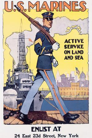 U.S. Marines, Active Service On Land And Sea by Sidney H. Reisenberg