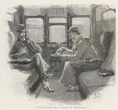 Silver Blaze Holmes and Watson in a Railway Compartment by Sidney Paget
