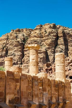 Roman Columns of the Great Temple Complex in Petra (Rose City), Jordan. the City of Petra Was Lost