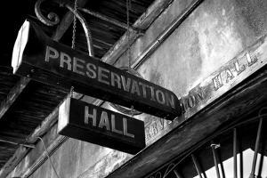 Signboard on a building, Preservation Hall, French Quarter, New Orleans, Louisiana, USA