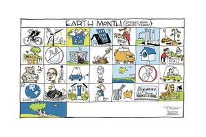 Earth Month. (Coming soon … Earth Year!). Local. I'm Back. Organic. Car Share. Earth Day. by Signe Wilkinson
