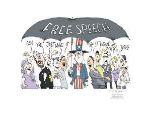 Free Speech. Can you just move it so it doesn't cover them? Freedom of media expression. by Signe Wilkinson
