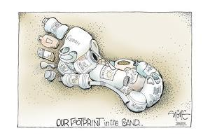 Locally sourced...Our footprint in the sand. by Signe Wilkinson