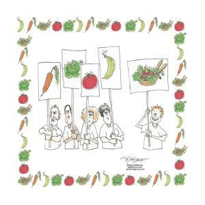 Protesters carry placards that carry vegetables.  Carrot, lettuce, tomato, bean and a salad. by Signe Wilkinson