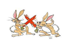 Rabbits fence with carrots as swords. by Signe Wilkinson