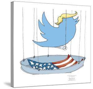 The twitter logo wearing a Trump hairpiece is in a birdcage lined with the American flag. by Signe Wilkinson