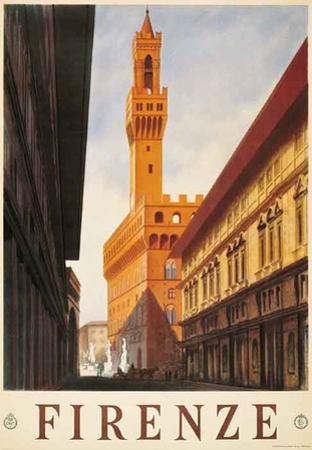 Signoria Palace, Firenze Italy- Vintage Travel Poster