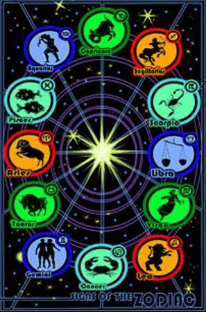 Signs of the Zodiac Horoscope Chart Blacklight Art Print Poster