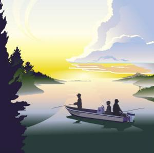 Silhouette of a Family Fishing from a Boat, Grouped Elements