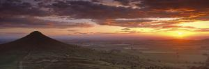 Silhouette of a Hill at Sunset, Roseberry Topping, North Yorkshire, Cleveland, England, UK