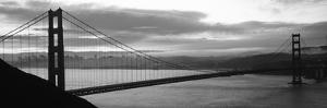 Silhouette of a Suspension Bridge at Dusk, Golden Gate Bridge, San Francisco, California, USA