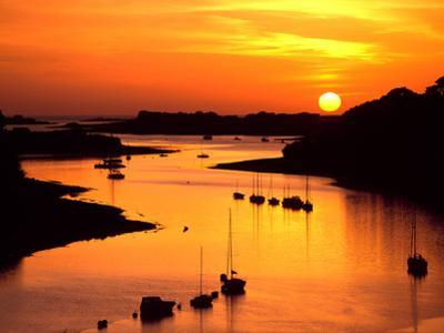 Silhouette of boats and buoys in a river, Aber Wrac'h, Abers Coast, Finistere, Brittany, France