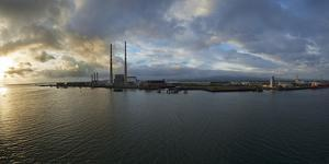 Silhouette of Chimneys of the Poolbeg Generating Station at Dawn, River Liffey, Dublin Bay