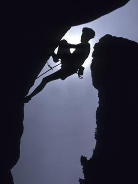 Silhouette of Male Rock Climber