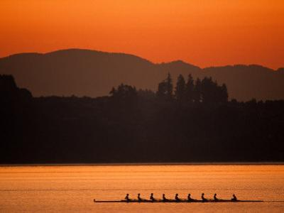 Silhouette of Men's Eights Rowing Team in Action, Vancouver Lake, Washington, USA