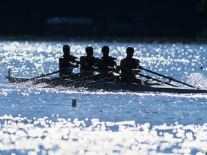 Silhouette of Men's Fours Rowing Team in Action, USA