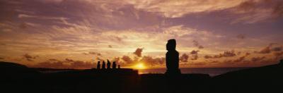 Silhouette of Moai Statues at Dusk, Tahai Archaeological Site, Rano Raraku, Easter Island, Chile