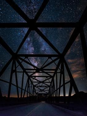 Silhouette of Morrin Bridge at night, Highway 27, Morrin, Alberta, Canada