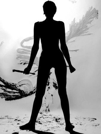 Black nude woman silhouette Silhouette Of Nude Woman Painting Abstract Canvas Photographic Print Tomas Del Amo Allposters Com