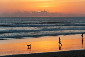 Silhouette of People and Dog Walking on the Beach, Seminyak, Kuta, Bali, Indonesia