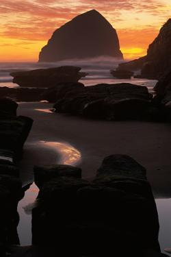 Silhouette of Rock Formations on the Beach, Haystack Rock, Cape Kiwanda State Park, Pacific City