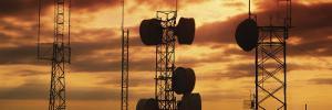 Silhouette of Satellite Dish on Communication Towers, Idaho, USA