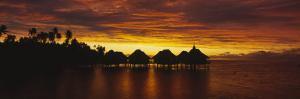 Silhouette of Stilt Houses on the Beach, Bora Bora, French Polynesia