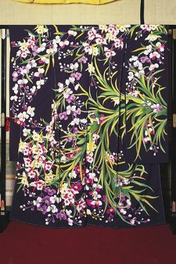Silk Furisode Kimono (Billowing Sleeves) Worn by Young Unmarried Women on Elegant Occasions and Mai
