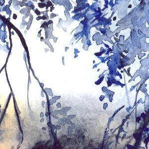 Watercolor Navy Blue Foliage Abstract Texture Background by Silmairel