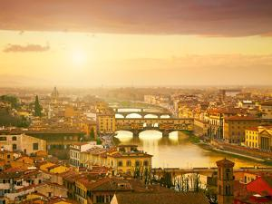 Sunset View of Bridge Ponte Vecchio. Florence, Italy by silver-john