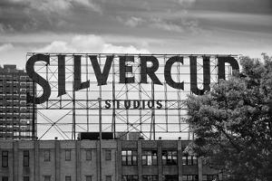 Silvercup Studios Sign in Long Island City, NY in Black and White