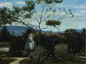 Among the Flowers in the Garden by Silvestro Lega
