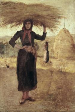 Peasant Woman with Hay by Silvestro Lega