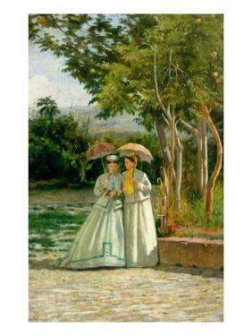 Promenade in a Garden by Silvestro Lega