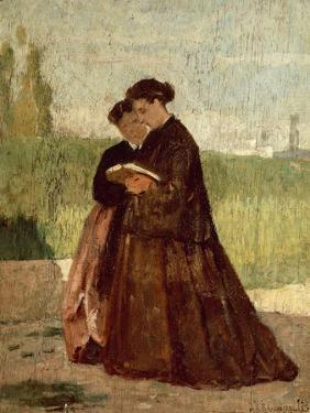 Walking in Garden, 1864 by Silvestro Lega