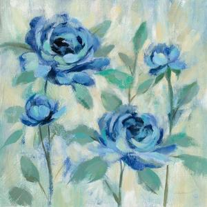 Brushy Blue Flowers I by Silvia Vassileva