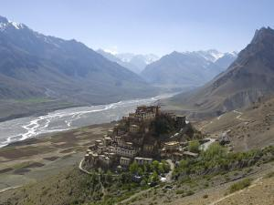 Backlit View of Kee Gompa Monastery Complex from Above, Spiti, Himachal Pradesh, India by Simanor Eitan