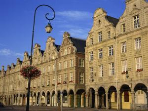 Colonnades of Buildings in the Town of Arras, Artois Region, Nord Pas De Calais, France, Europe by Simanor Eitan