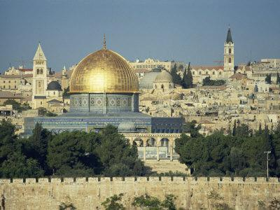 Dome of the Rock and Temple Mount from Mount of Olives, Jerusalem, Israel, Middle East