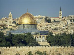 Dome of the Rock and Temple Mount from Mount of Olives, Jerusalem, Israel, Middle East by Simanor Eitan