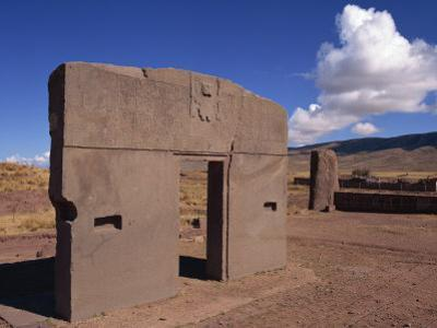 Gate of the Sun at the Site of Tiahuanaco, Lake Titicaca, in Bolivia