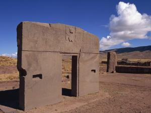 Gate of the Sun at the Site of Tiahuanaco, Lake Titicaca, in Bolivia by Simanor Eitan
