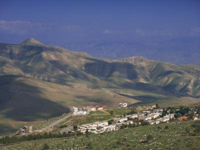 Jordan Valley Town of Maalei Ephraim, with Mount Sartaba in Background, Israel, Middle East