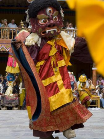 Monk in Wooden Mask in Traditional Costume, Hemis Festival, Hemis, Ladakh, India
