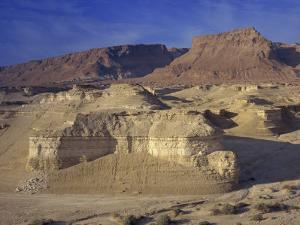 Rock Cliffs and Sand Dunes in Front of the Fortress of Masada, Judean Desert, Israel, Middle East by Simanor Eitan